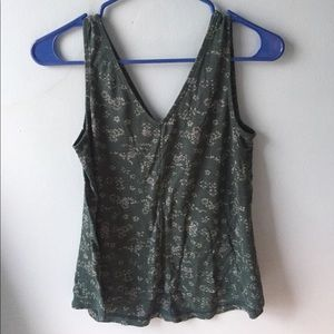old navy flowy teal tank with flower print